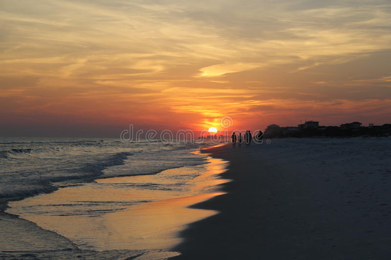Sunset at the beach royalty free stock photo
