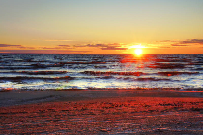 Download Sunset at the beach stock image. Image of cloud, beach - 33873903