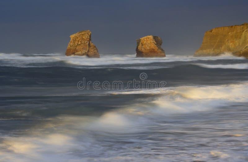 Sunset on the beach of Hendaye, France royalty free stock photo