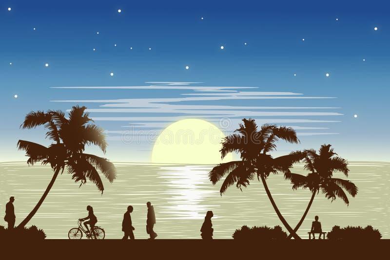 Sunset beach ilustration. Sunset on the beach ilustration. Design illustration vector illustration