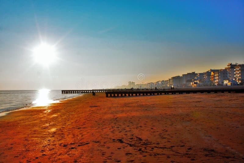 sunset on the beach, italy jesolo. stock photos
