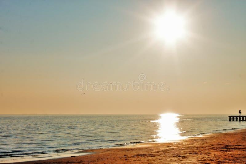 Sunset on the beach, italy jesolo. Sunset on the beach, italy jesolo stock photography