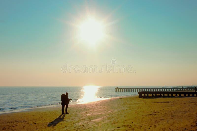 Sunset on the beach, italy jesolo. Sunset on the beach, italy jesolo stock image