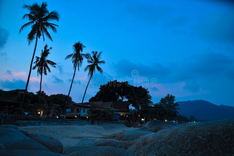 Beach in Koh Phangan. Sunset in a beach in Koh Phangan Thailand royalty free stock photography