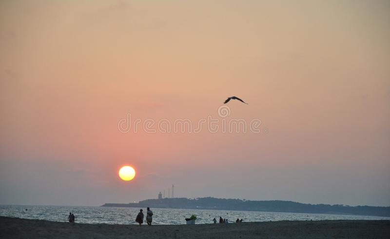 sunset at the beach royalty free stock image