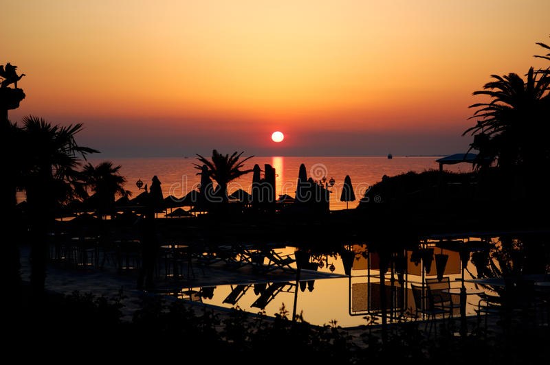 Download Sunset At Beach Of The Luxury Hotel Stock Photo - Image: 24612768