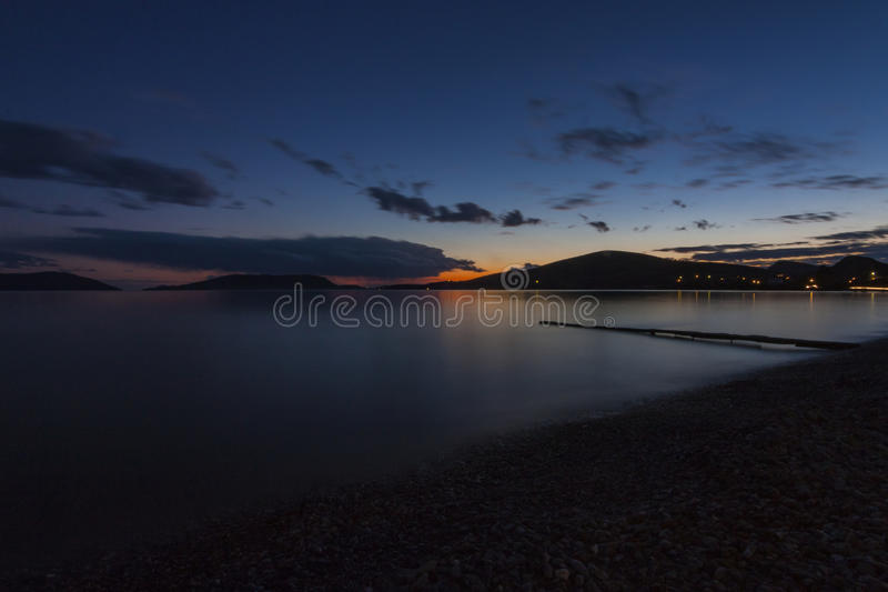 Sunset on beach royalty free stock photography