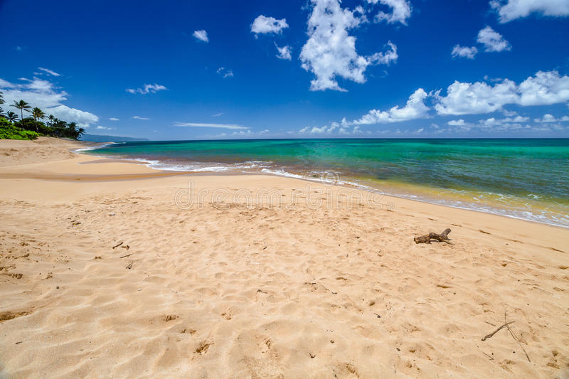 Sunset Beach North Shore. Sunset Beach is on the North Shore of Oahu in Hawaii and known for big wave surfing during the winter season with the nearby Banzai royalty free stock photography