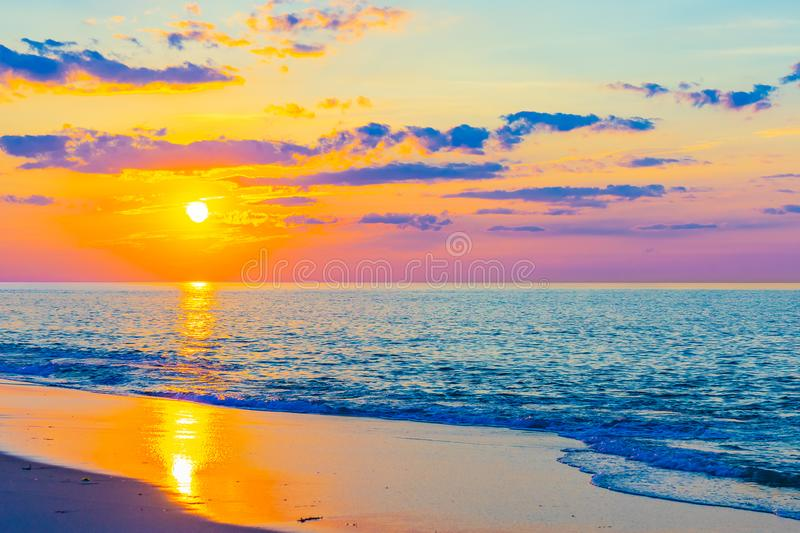 Sunset on the beach on north side of the Provincelands Cape Cod, Atlantic ocean view MA US. Sunset on the beach on north side of the Provincelands Cape Cod stock photography