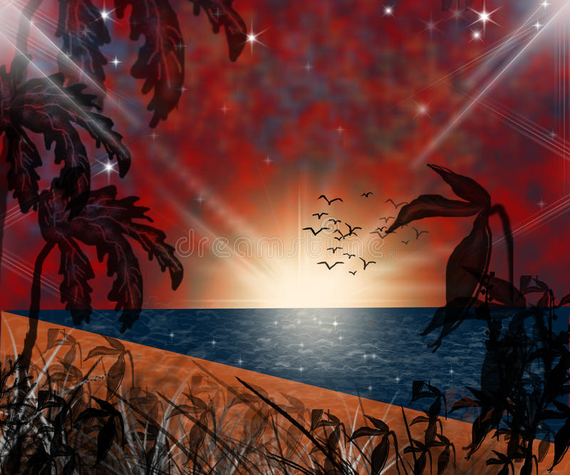 Sunset on the beach. Palms and sea royalty free illustration