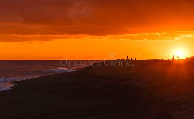 Sunset at beach. stock photography