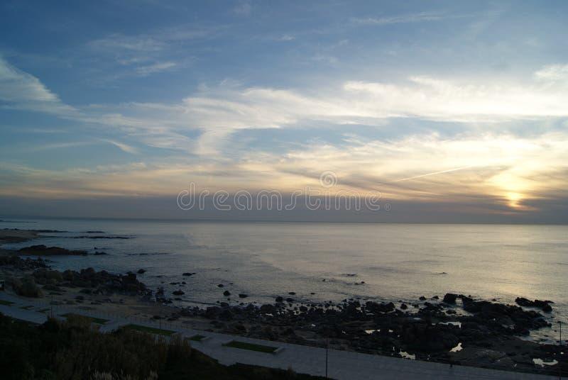 Sunset at beach royalty free stock photos
