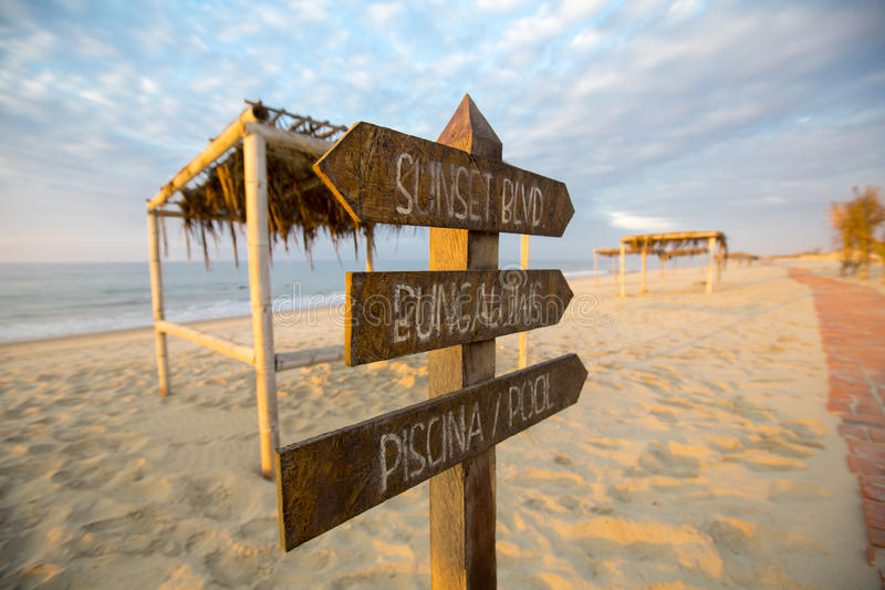 Sunset on the beach of Punta Sal with empty campsite, Peru royalty free stock photos