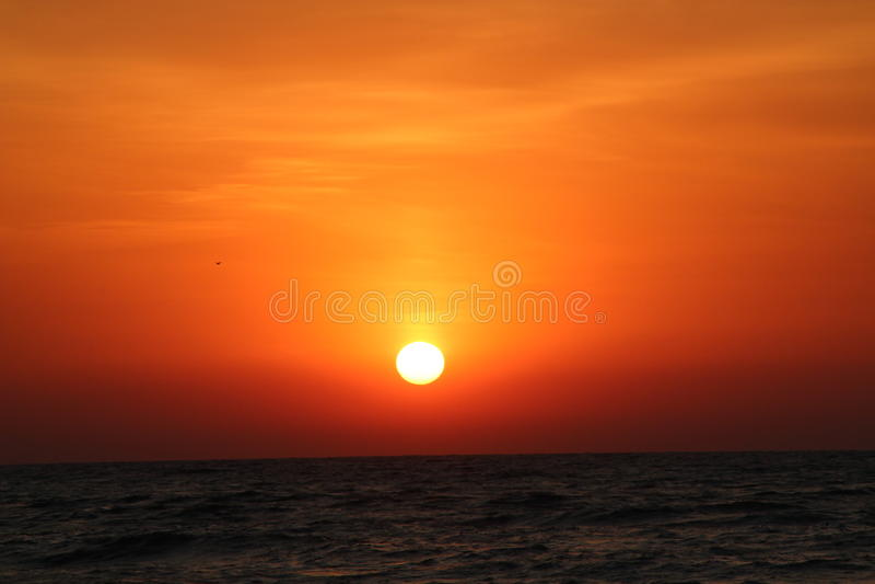 Sunset Beach, red light stock photo