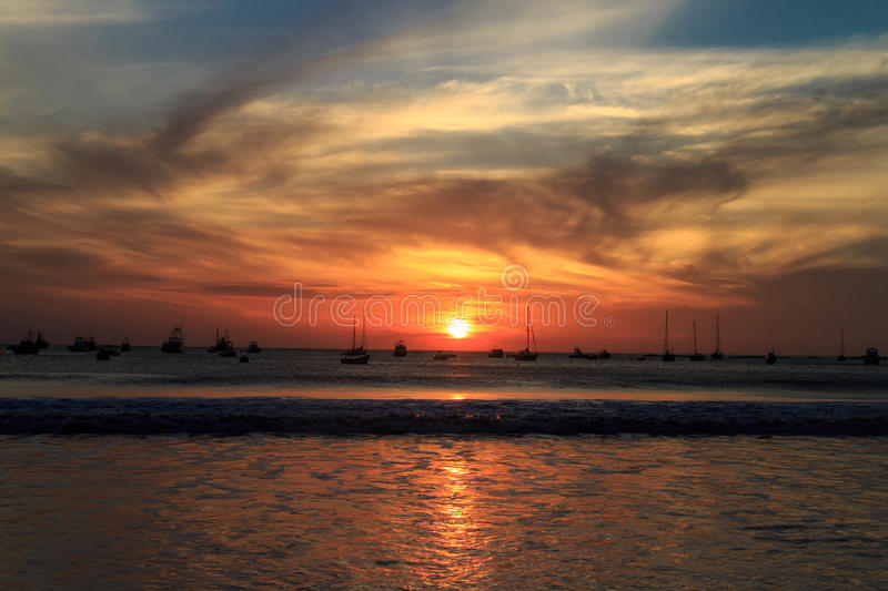 Sunset on beach from San juan del sur royalty free stock photography