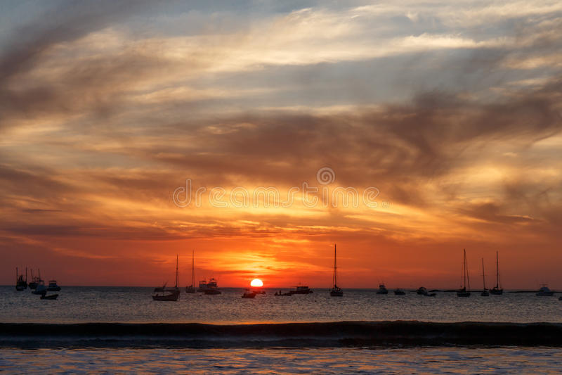 Sunset on beach, San Juan del Sur royalty free stock photo