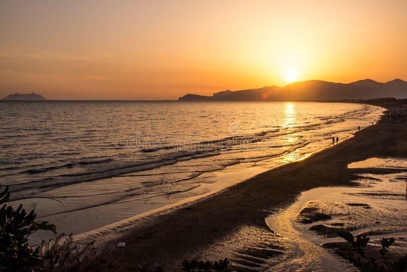 Sunset on the beach of Sperlonga, Italy stock image