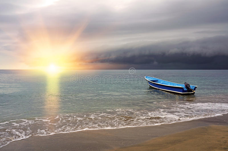 Beach Sand Clouds Sea Caribbean Water Peaceful: Sunset On The Beach With Storm Coming Stock Photo