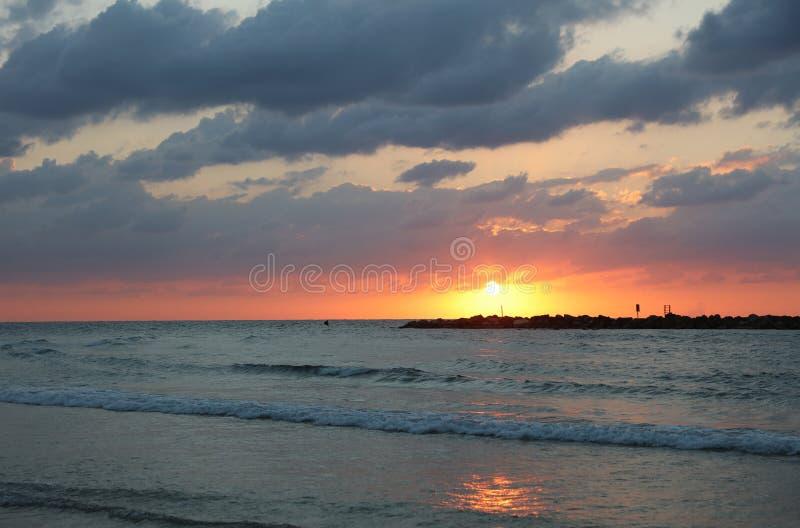 Sunset on the Beach of Tel Aviv royalty free stock photo