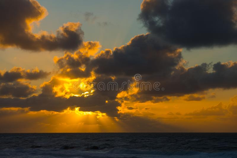 Sunset at the beach of Texel royalty free stock photos