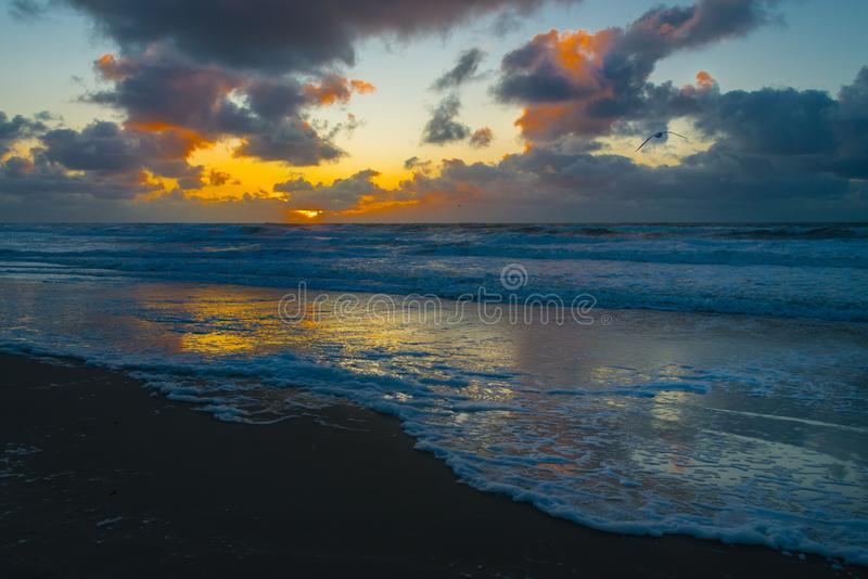 Sunset at the beach of Texel royalty free stock photography
