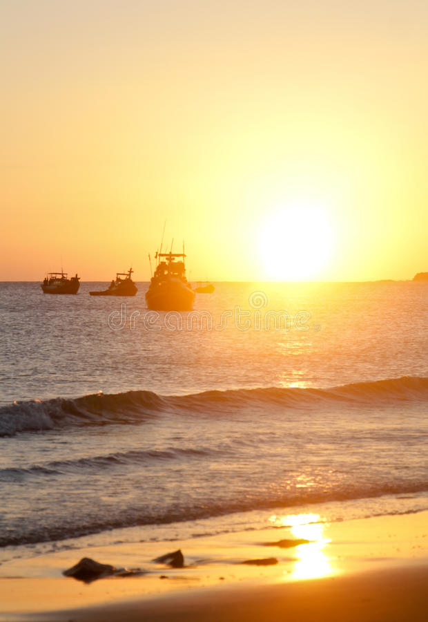 Sunset on the beach in Vietnam stock photography