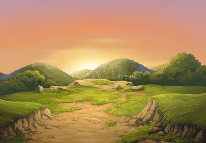 Sunset on the beautiful cliffs. royalty free illustration