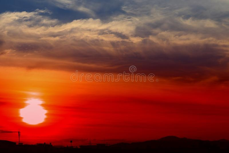 Sunset beautiful colorful landscape in blue sky evening nature twilight time.  royalty free stock images