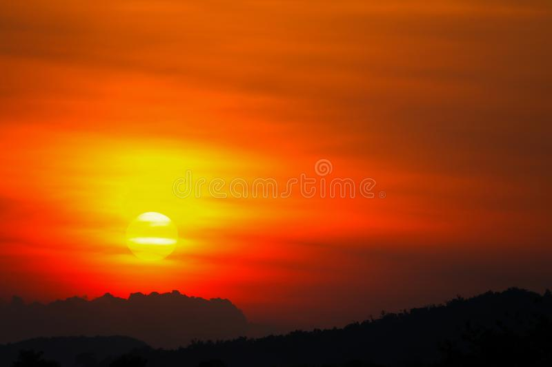 Sunset beautiful colorful landscape in blue sky evening nature twilight time.  royalty free stock image
