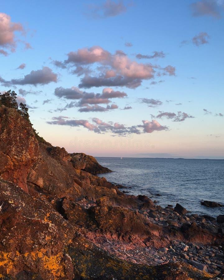 Sunset Beautiful norway south stock photo