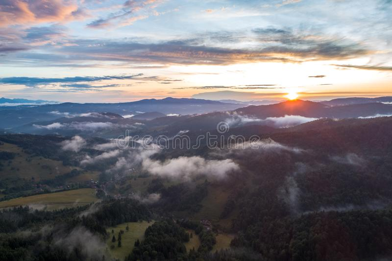 Sunset in beautiful Polish mountains and colorful sky_9. This picture shows a beautiful mountain landscape. The photo was taken at sunset royalty free stock image