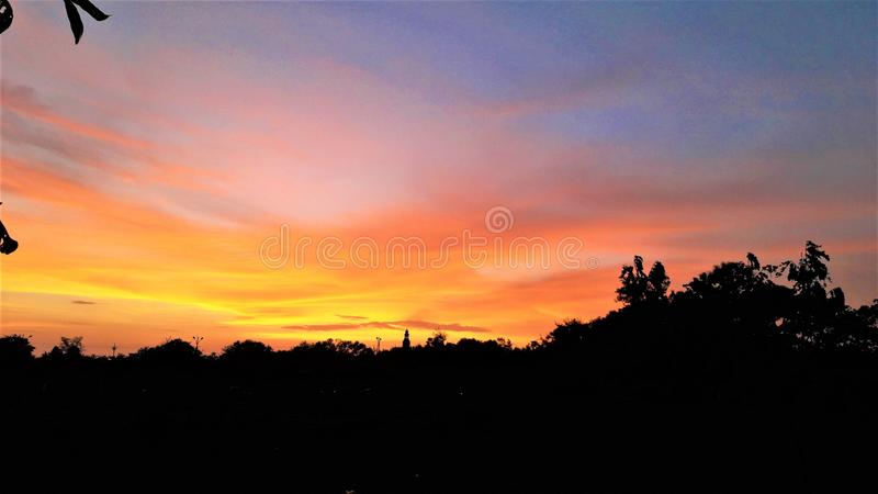 Beautiful sunset with vibrant colors royalty free stock images