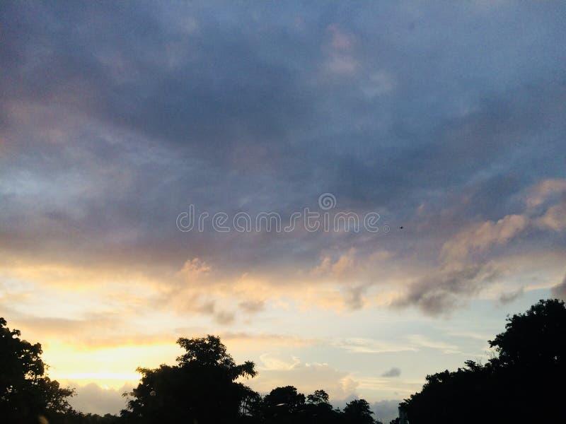 sunset at Parliament Lake sri lanka royalty free stock photography