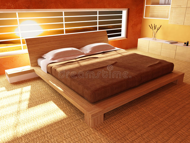 Sunset from bedroom vector illustration