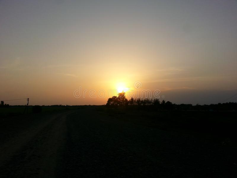 Sunset. The sunset begins I captured the sunset in our village royalty free stock photo