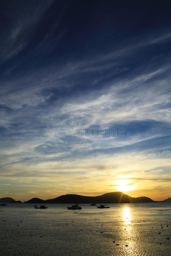 Sunset Behind Mountain royalty free stock photography