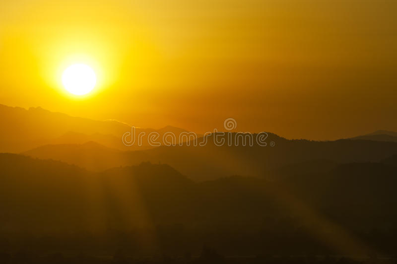 Download Sunset behind mountains stock photo. Image of morning - 22677402