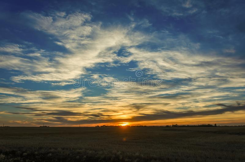 Sunset behind the trees in a green field and a huge blue sky royalty free stock photos