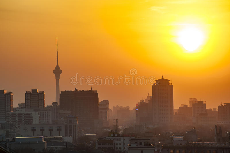 Sunset in Beijing royalty free stock photo