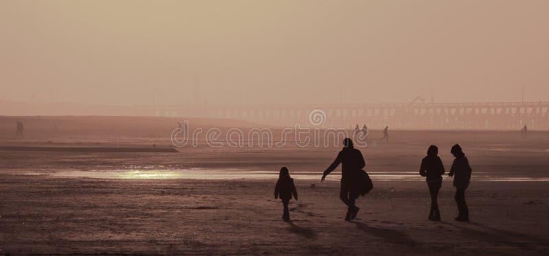 Sunset at the Belgian coast. Sunset in Blankenberge, Belgian coast stock photos