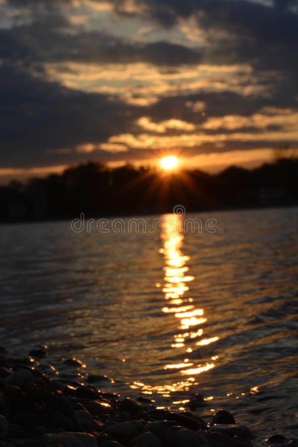 Sunset in Belgrade on lake Ada stock images