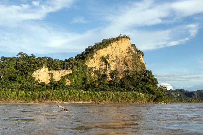 Sunset at Beni river cliffs, adventure in jungles of Madidi national park, Amazon river basin in Bolivia, South America. Sunset at Beni river cliffs during stock images