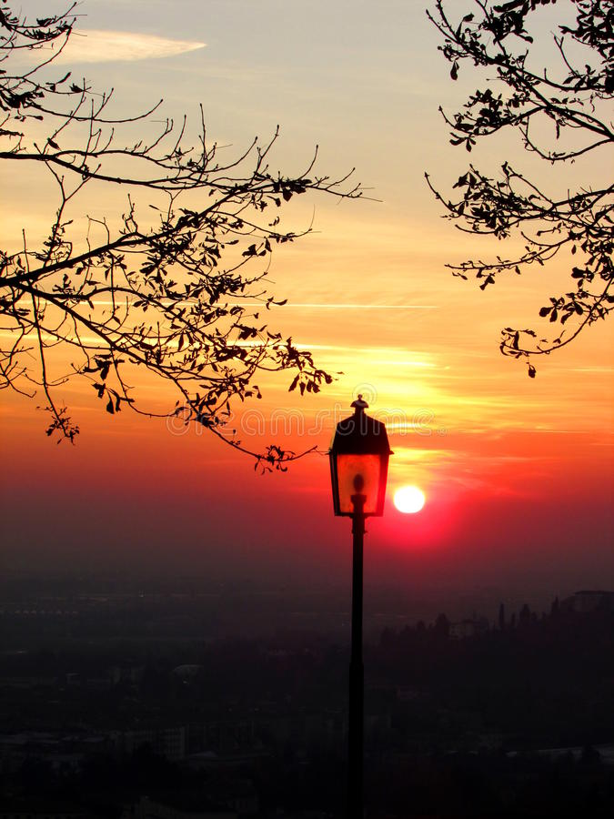 Sunset in Bergamo stock image