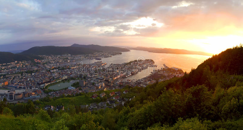 Sunset in Bergen royalty free stock photo