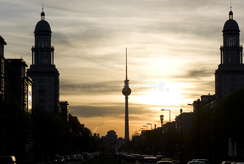 Sunset in Berlin royalty free stock photography
