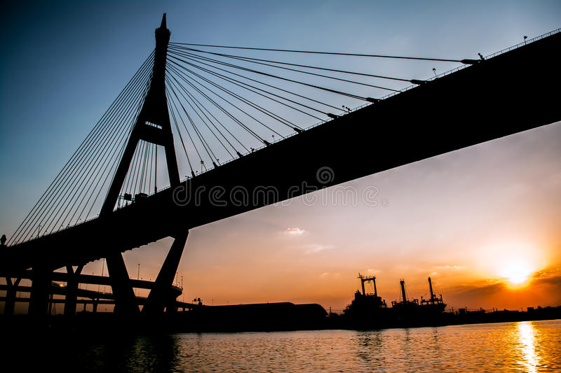 Sunset at bhumibol bridge stock photos