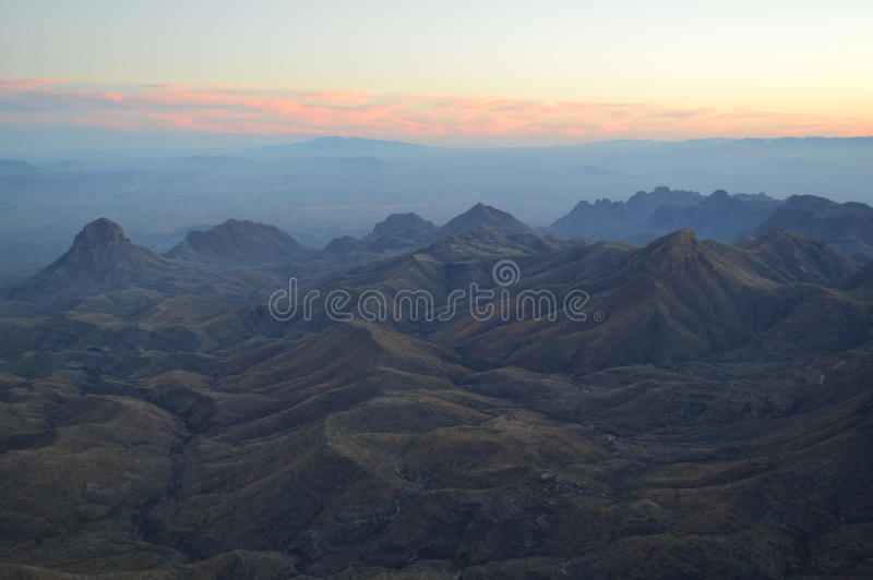 Sunset, Big Bend National Park, Texas. Evening sets in across the high desert of south Texas and Big Bend National Park. Photographed looking south into Mexico stock image