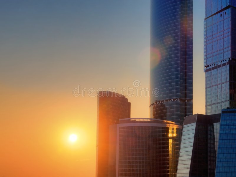 Sunset in a big city stock photo