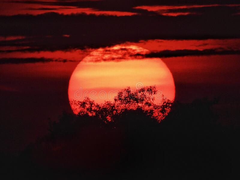 Sunset with a big sun royalty free stock photography