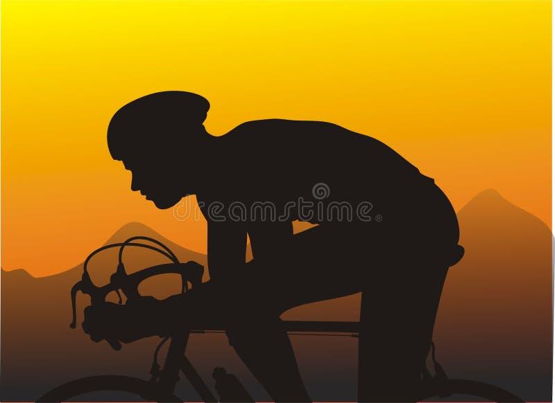 Sunset bike race. Bike racer finishing the day with sprinting towards the finish line royalty free illustration